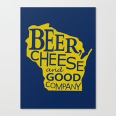 Blue and Gold Beer, Cheese and Good Company Wisconsin Graphic Canvas Print