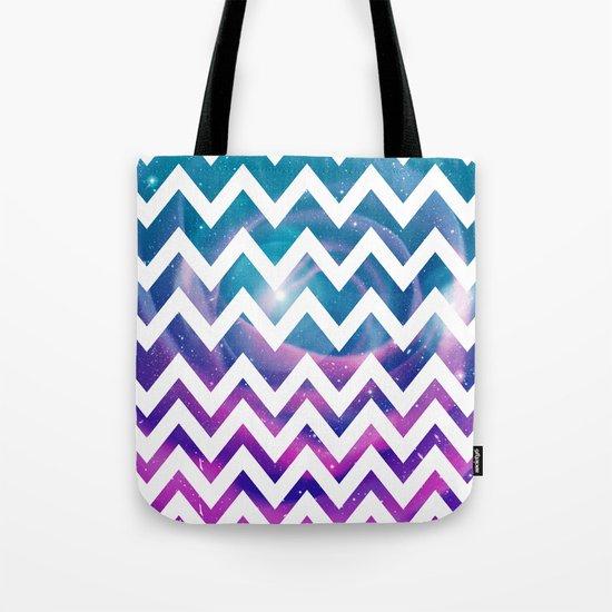 Universal Geometry - Chevron with purple and aqua galaxy  Tote Bag