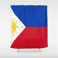 philippines Shower Curtains featuring Flag of the Philippines by Neville Hawkins