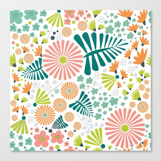 Whimsical flowers Canvas Print