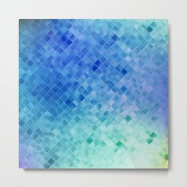Blue Mosaic Pattern Metal Print
