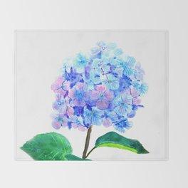 blue purple hydrangea Throw Blanket