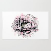 peony Area & Throw Rugs featuring Peony  by EllaJohnston Art & Illustration