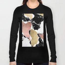 Modern white black marble rose gold foil color block handdrawn geometric lines Long Sleeve T-shirt