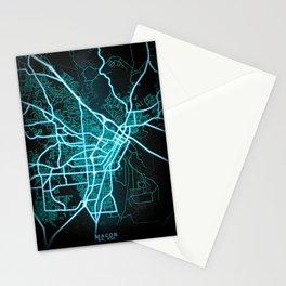 Macon, GA, USA, Blue, White, Neon, Glow, City, Map Stationery Cards