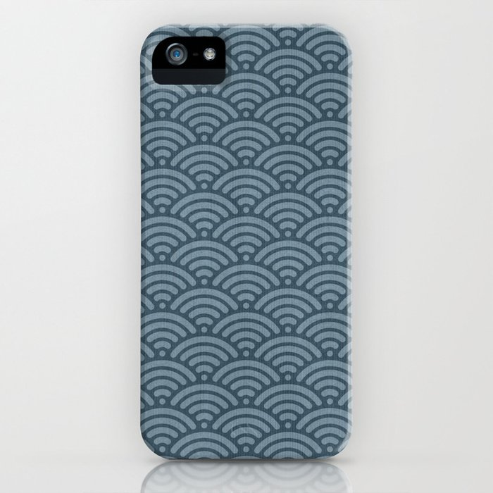 Blue Indigo Denim Seigaiha Sea Wave Nautical Minimalist iPhone Case