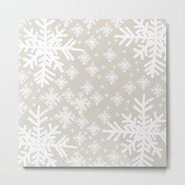 Grey Snowflake Design Metal Print