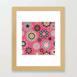 Flower retro pattern in vector. Blue gray flowers on pink background. Framed Art Print