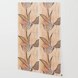 tulip on antique texture Wallpaper
