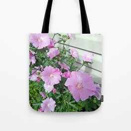 Pink Musk Mallow Bush in Bloom Tote Bag
