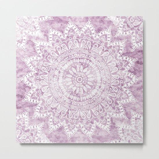 BOHEMIAN FLOWER MANDALA IN PINK Metal Print