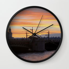 Sunset over the Neva River Wall Clock
