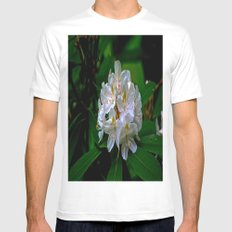 Rhododendron Bloom at Falling Water White Mens Fitted Tee MEDIUM