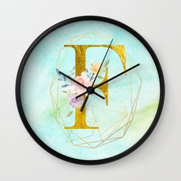 Gold Foil Alphabet Letter F Initials Monogram Frame with a Gold Geometric Wreath Wall Clock