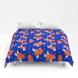 Florida fan gators university orange and blue team spirit football college sports florals Comforters