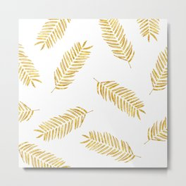 Gold Leaves Pattern Metal Print