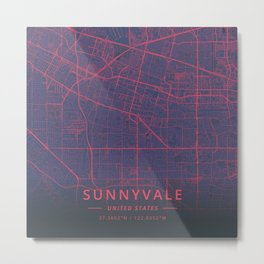 Sunnyvale, United States - Neon Metal Print