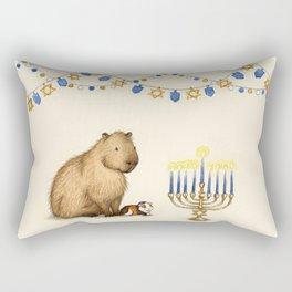 Capy Hanukkah - Capybara and Menorah Rectangular Pillow