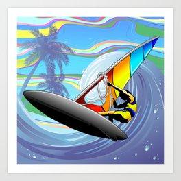 Windsurfer on Ocean Waves Art Print