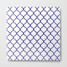 Moroccan Trellis (Navy Blue & White Pattern) Metal Print