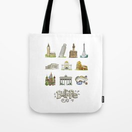 Europe with significant buildings Tote Bag