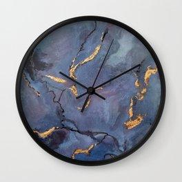 Mojave Purple Turquoise - an original encaustic painting Wall Clock