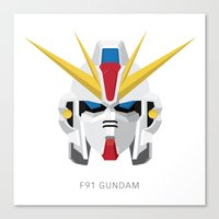 gundam Canvas Prints featuring F91 Gundam by Ana A