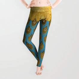 Blue and Gold Mermaid Scales Dreams Leggings