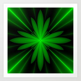 Neon Green Flower Fractal Art Print