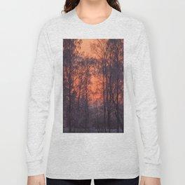 Winter Scene - Frosty Trees Against The Sunset #decor #society6 #homedecor Long Sleeve T-shirt