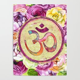 Golden OM symbol on Pastel Watercolor pattern Poster