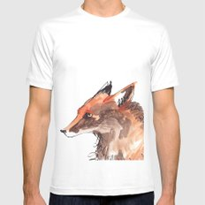 Angry Fox White MEDIUM Mens Fitted Tee