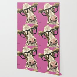 Pink Cow with glasses art, Cute Cow With Glasses Wallpaper