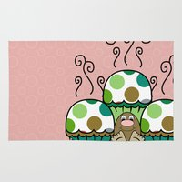 polkadot Area & Throw Rugs featuring Cute Monster With Green And Brown Polkadot Cupcakes by Mydeas