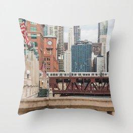 Wells Street Bridge - Chicago Photography Throw Pillow