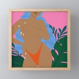 Handful // Woman, Femme, Feminine, Pink, Blue, Plants, Cute, Thong Framed Mini Art Print