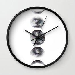 Moon phases watercolor painting Wall Clock