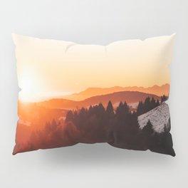 Red Orange Sunrise Parallax Mountains Pine tree Silhouette Minimalist Photo Pillow Sham