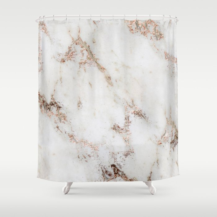Artico Marble Rose Gold Accents Shower Curtain By Marbleco Society6