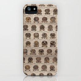 Maya Calendar Glyphs pattern wooden texture iPhone Case