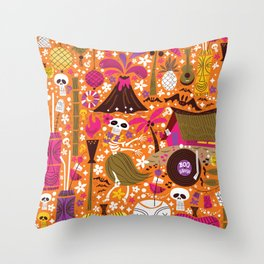 Tiki Freaks do the Hulaween Throw Pillow