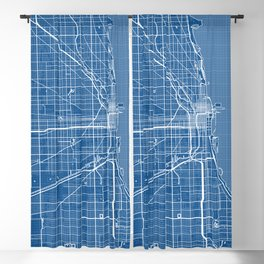 Chicago City Map of the United States - Blueprint Blackout Curtain