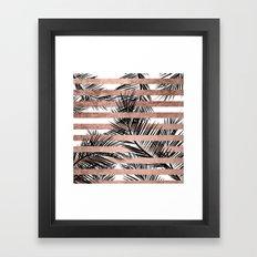 Trendy tropical palm trees chic rose gold stripes Framed Art Print