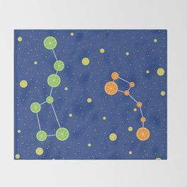 Citrus constellations Throw Blanket