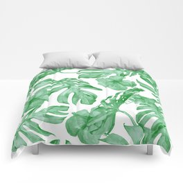 Tropical Island Leaves Green on White Comforters