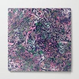 Blue Hawaiian Pink and Green Ancient Pattern Metal Print
