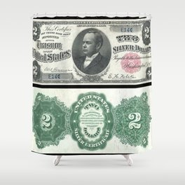 1891 U.S. Federal Reserve Two Dollar William Windom Bank Note Shower Curtain