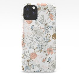 Abstract modern coral white pastel rustic floral iPhone Case