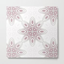 Feathers, Geometric Pattern in Mauve and Grey Metal Print