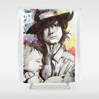 carl sagan Shower Curtains featuring Carl with Judith by Alina Rubanenko